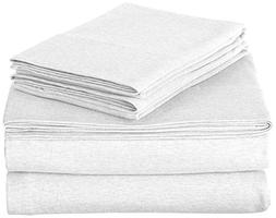 ROYAL LUXURY 100% Cotton Jersey Knit QUEEN Sheet Set, WHITE