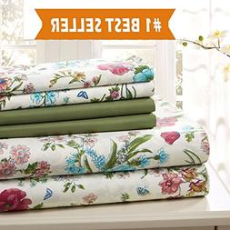 Traditional Home Sage Floral 6 pc Cotton sheet set extra sof