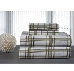 4 Piece Sage Green Brown Plaid Pattern Sheets Queen Set, Ele
