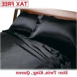 Satin Charmeuse Sheet Set Queen King Soft Silk Feel Bedding