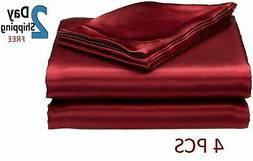 SATIN SHEETS QUEEN Size Soft Silk Feel Bedding 4pc Set Luxur