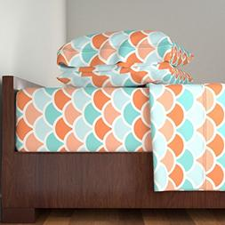 Roostery Scalloped 4pc Sheet Set Mermaid Orange by Myracle Q