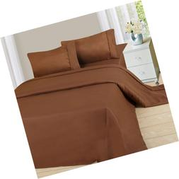 Lavish Home 1200 4-Piece Sheet Set, Queen, Chocolate