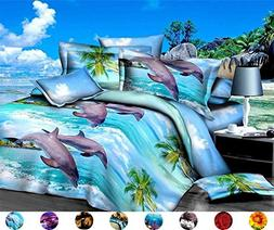 4 Piece Set Luxury 3d Print Vivid Animals Pattern Bed Sheet