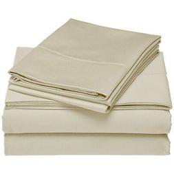 Lavish Home 1200 4-Piece Sheet Set, Queen, Bone