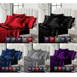 Satin 6pcs Silky Bedding Set Queen/King Duvet Cover Fitted S