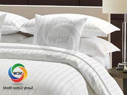 4pc Sheet Set in Branded White with Striped Pattern in 400TC