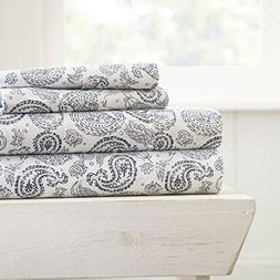 Simply Soft 4 Piece Sheet Set Coarse Paisley Patterned, Quee