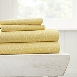 Simply Soft 4 Piece Sheet Set Honeycomb Patterned, Queen, Ye