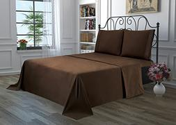 4 Piece Solid Bedsheet Set with 2 Pillow Cases & 1 Deep Pock