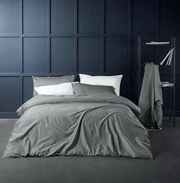 Solid Color Egyptian Cotton Duvet Cover Luxury Bedding Set H