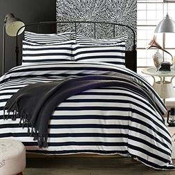 Simplelife Bedding Collection Striped Black and White Microf