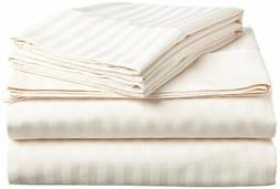 ITALIAN 4PC STRIPED QUEEN Sheet Set, IVORY
