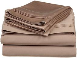 Taupe Solid Queen Size Ultra Soft Natural 4 PCs Bed Sheet Se
