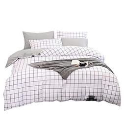 BuLuTu Teen Men Duvet Cover Set Queen White/Grey Egyptian co