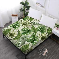 Tropical Green Leaves Bed <font><b>Sheet</b></font> Plant Pr