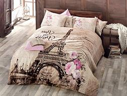 100% Turkish Cotton Paris Eiffel Tower Themed Full Double Qu