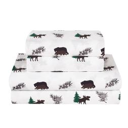 Twin, Full, Queen, King Rustic Bear Moose Bed Sheet Set Micr