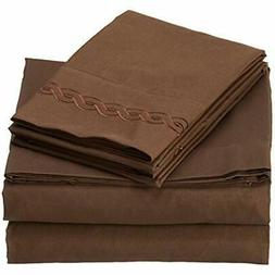 Ultra Soft Cable Embroidery Microfiber Sheet Set, Queen, Bro