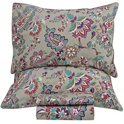 Queen's House Vintage Paisley Pattern Bed Sheets Queen Size