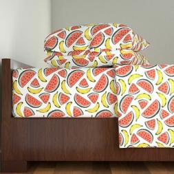 Watermelon + Banana Fruit Kitchen Home 100% Cotton Sateen Sh