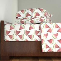 Watermelon Summer Fruit Kitchen Home 100% Cotton Sateen Shee