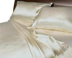 WHITE - SATIN SHEETS QUEEN Size Soft Silk Feel Bedding 4pc S